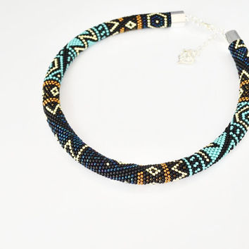 Necklace tube, seed beads necklace, turquoise necklace, bead crochet rope, gift for her, dark blue necklace, brown, gold