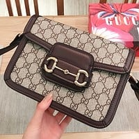 GUCCI New fashion more letter print leather shoulder bag crossbody bag