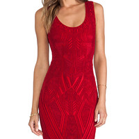 RVN Aztec Jacquard Tank Dress in Red