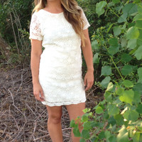 All Over Lace Dress- White