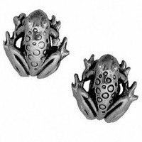 Sterling Silver Earrings Frog Posts Studs Tiny Mini Stainless Steel Posts and Backs