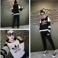 """""""Adidas"""" Fashion Casual Multicolor Clover Letter Print Long Sleeve Hooded Cotton Sweater Set Two-Piece Sportswear"""