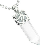 Positive Energy Ancient OM Amulet Magic Crystal Point Lucky Charm Snow White Cat