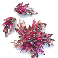 Pink and Fuchsia Austrian Brooch and Earring Demi