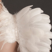 Ivory white Feather high collar capelet or sharp shoulders wrap shrug dripping with white feathers