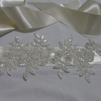 Wedding Belt, İvory Lace Bridal Belt, Sash Belt, Crystal Rhinestone Belt,