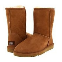 Women's Shoes Ugg Australia Classic Short Sheepskin Boots Chestnut *New*