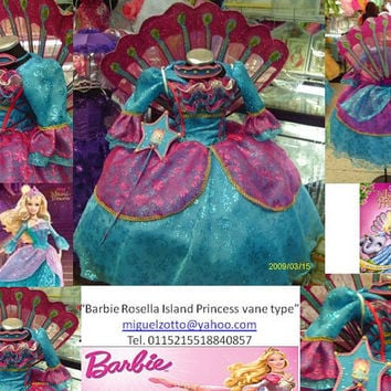 Barbie Ro Rosella Island princess Disney Princess fairy doll party pageant bridesmaid medieval pink graduation dress cosplay quince costume