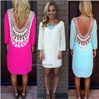Lace Hollow Out Long Sleeves Backless Loose Short Dress