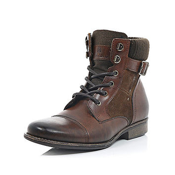 River Island MensBrown leather buckle boots