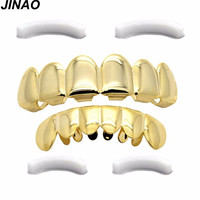JINAO Gold Plated Hip Hop Teeth Grillz Caps Top & Bottom Grill Set Christmas Party vampire teeth+ 2 EXTRA Molding Bars
