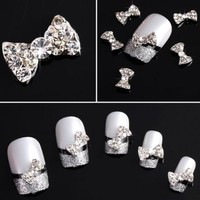 Mosody 10pcs Special Charming 3D Nail Art Designs Nail Art Bow Tie Alloy Rhinestones DIY Decoration by Ladies Beauty Box