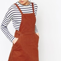 ASOS Denim Aline Pinafore Dress In Rust