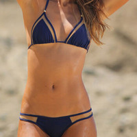 Blue Strappy Cut-Out Triangle Bikini