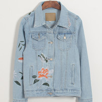 Vintage Embroidered Denim Jean Jacket