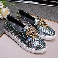 Versace Fashion new more sequin couple shoes flat white shoes round head casual heighten shoes Gray