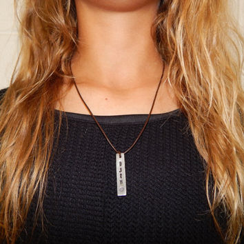 Leather Engraved Silver Bar Necklace with Pearl Clasp