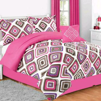 Girls Kids Bedding- Santana Pink Comforter Set