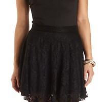 Lace Skater Skirt by Charlotte Russe - Black