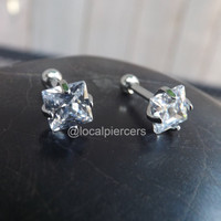 """Cartilage Piercing 16g Clear Gem Silver Stud Philtrum Square 5mm Gems 5/16"""" Helix Labret Lip Conch Ring Monroe Piercing 4mm Tragus Jewelry"""