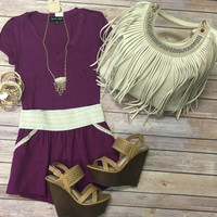 Basic V-Neck Tee: Plum