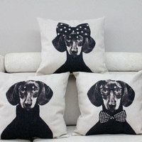 New Ikea Linen Pillow Cover Vintage Black Cats Bowknots dachshund Dog Pattern Cushion Cover Home Decorative Pillow Case 45x45cm