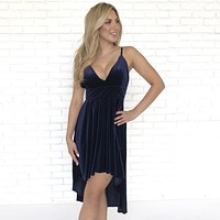 Vivid Dreams Velvet Navy Blue Dress