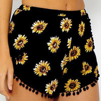 Floral Print Shorts with Pom Deco