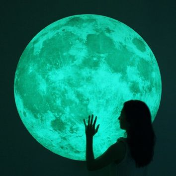 Supermarket: World's largest Moonlight wall-sticker /XL-size, Clair De Lune (glow in the dark moon wall sticker-100cm/39inch) from i3Lab. [i-cubed-lab] design studio