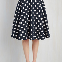 Rockabilly Long Full Bugle Boogie Skirt in Navy Dots