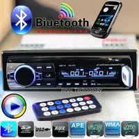 New 12V Bluetooth Car Stereo FM Radio MP3 Audio Player 5V Charger USB/SD/AUX Car Electronics Subwoofer In-Dash 1 DIN