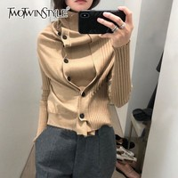 TWOTWINSTYLE Turtleneck Sweater Women Single Breasted Solid Long Sleeve Big Size Knitting Coat For Female Autumn Casual Clothing