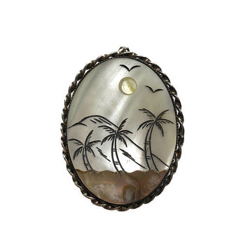 Vintage Brooch With Pendant Loop | Desert Scene, Sun And Palm Trees Pin | Mother Of Pearl Inlaid Shell Brooch