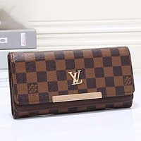 LV Louis Vuitton Women Leather Multicolor Wallet Purse