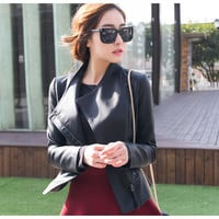 PU Zipper Plus Stand Collar Size Short Jacket