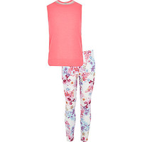 River Island Girls pink top butterfly legging outfit