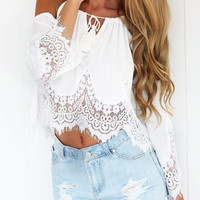 HOT 2016 Summer Chiffon shirt Women Off Shoulder Blouse Casual Crop Tank Tops Cover up Boho white Lace blouse Femme Blusas W5