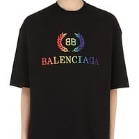 BALENCIAGA Fashion Women Men Casual Letter Gradient Print T-Shirt Top Blouse