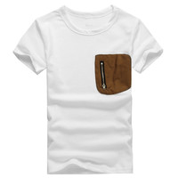 Cool Kids Boy Pocket Zipper Cotton Solid Color Short-sleeved T-shirt New NW