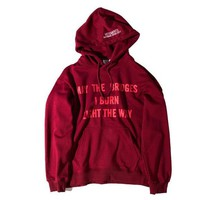 vetements male red hooded sweater hedging sweater loose letters printed long section of male and female couple jacket free shipping