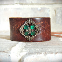 Leather Cuff Bracelet / Emerald Green / Antique Jewelry Cuff / Antique Brass / Bohemian Cuff / Boho Cuff / Gypsy Cuff / Up Cycled Cuff  Indi