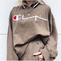 Champion Fashion Casual Men Wool Embroider Long Sleeve Pullover Sweater G-MG-FSSH