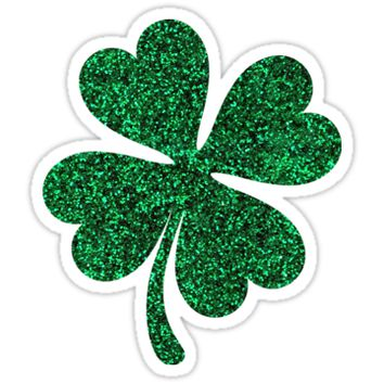 Green glitter shamrock clover sticker - PRINTED IMAGE by Mhea