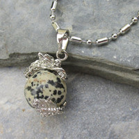Dalmatian Jasper Dragon Pendant Necklace, Dragon Clutching Jewel, Choose Necklace, Dalmatian Jasper Sphere, Dragon Lover Gift, IsleOfCraftin
