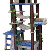 Kitty Mansions Amazon Cat Tree, Blue/Beige