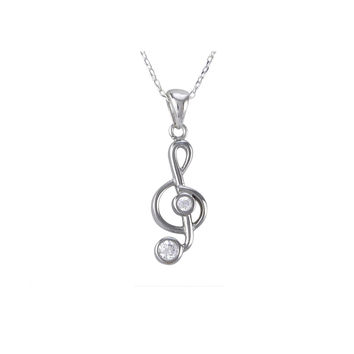 Sterling Silver Music Note Pendant Necklace Clear CZ Cubic Zirconia Stones