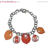BLACK FRIDAY SALE Pressed petal jewelry, red bougainvillea jewelry, botanical bracelet, real flowers in resin, red orange resin bracelet, f