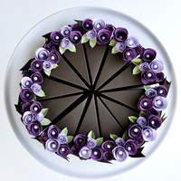PAPER Chocolate cake slice favor box with purple by imeondesign