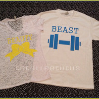 SUper CUte Matching Beauty and The Beast Set With A womans Burnout TShirt Perfec For any Loving Couple With Yellow and Blue Font Colors