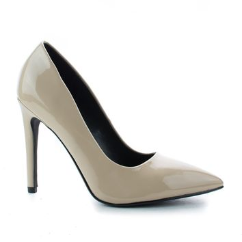 Cindy Beige Patent By Delicious, Pointy Toe Slip On Classic Stiletto Heel Pumps